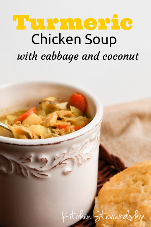 Turmeric Chicken Soup with Cabbage and Coconut