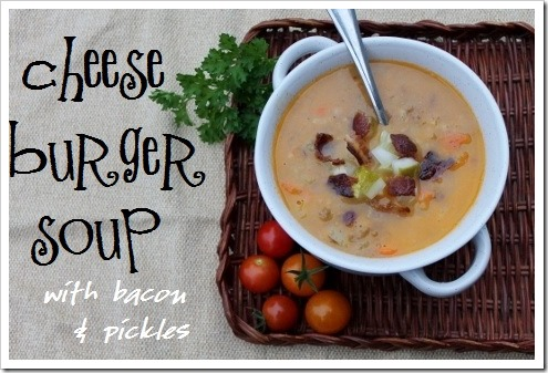 Cheeseburger Soup Recipe is just what it sounds like, including the bacon and pickles - so healthy, kid-friendly, and simple :: via Kitchen Stewardship