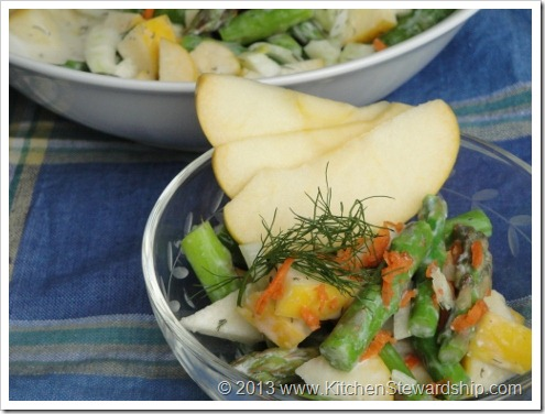 Springtime Asparagus Apple Fennel Salad with Dilly Dressing