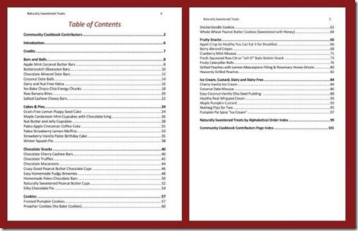 sweets table of contents
