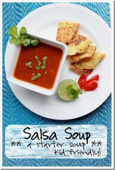 Nourishing Homemade Salsa Soup Recipe: simple starter soup for Mexican night (get kids to eat more vegetables!) :: via Kitchen Stewardship