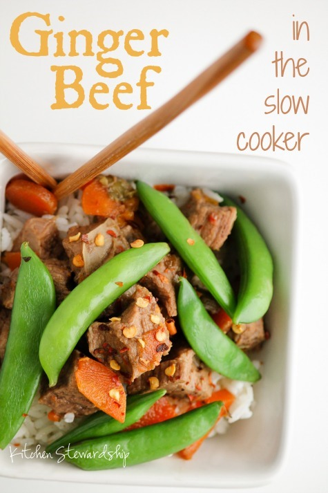 Super simple slow cooker Ginger Beef - set the crockpot and dinner is ready when you are :: via Kitchen Stewardship