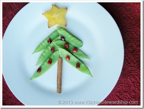 Healthy Christmas Tree Food Art - pea pod version