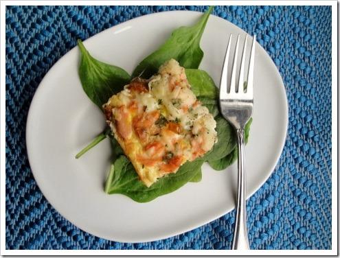 Salmon Spinach Pesto Crustless Quiche