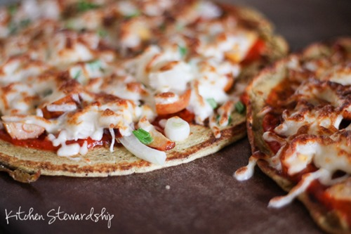 Chickpea Flour Crust Pizza Recipe on the Stovetop (Grain-Free, High-Protein) :: via Kitchen Stewardship