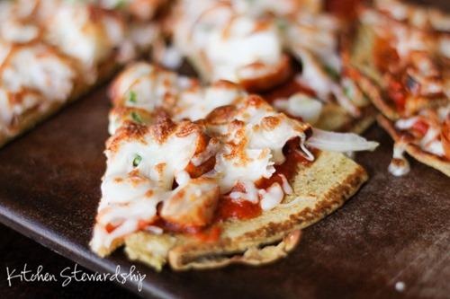 Chickpea Flour Crust Pizza Recipe on the Stovetop (Grain-Free, High-Protein) :: via Kitchen Stewardship