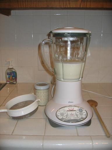 Tools needed: strainer, cream, blender (or food processor), wooden spoon