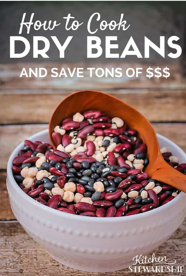 How to Cook Dry Beans and save tons of money! Great info on where to buy, how to prepare and recipes to get more beans in your diet!! http://www.kitchenstewardship.com/2009/04/06/how-to-cook-dry-beans/