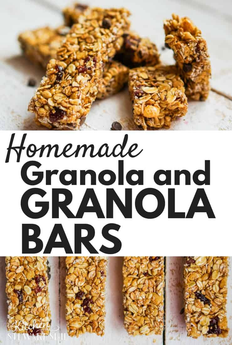 Healthy homemade granola bars with 100% whole grains and zero refined sugars. My kids LOVE them! As easy as making chocolate chip cookies! (also a recipe for simple homemade granola)