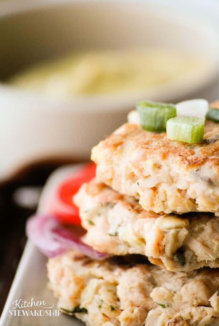 These simple salmon patties are a great, frugal option for dinner. They take only minutes to mix up and cook!