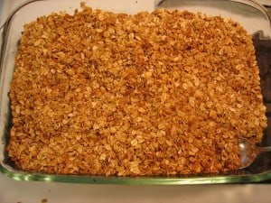 The finished product.  This is as toasty brown as you would want to go.  The granola browns first on the edges and bottom, which is why stirring is so important.