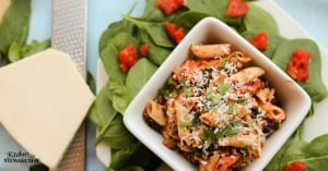 This sausage and spinach pasta toss is perfect for an easy weeknight meal. A one pot dish to feed the whole family.