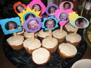 photo cupcakes, first birthday cake