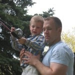 Trying out the new fishing pole from Uncle AJ.