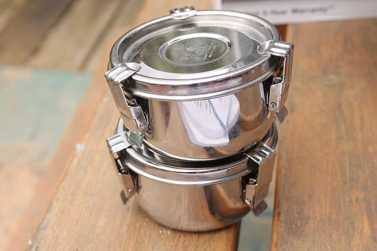 Pack yogurt for two days of school lunches in these cute stainless steel containers