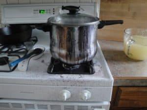 pot of bean boils over