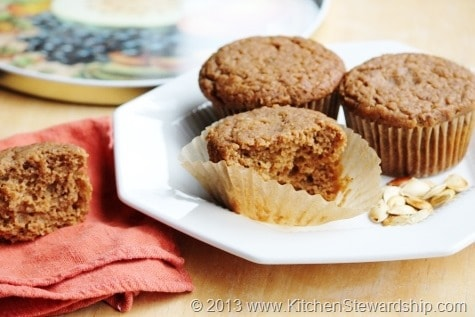 Easy Healthy Pumpkin Muffin Recipe - You'll never make pumpkin muffins from a box again! Whole wheat, less sweetener, and unbelievable taste.