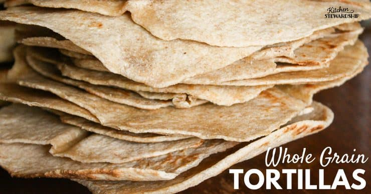 Stack of homemade whole grain tortillas