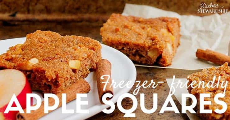 Moist, delicious apple bars - 100% whole wheat OR grain-free, low sweetener, kid-friendly, freezable and so, so good