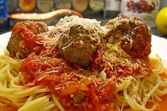 This isn't mine- I forgot to take a photo! But meatballs are meatballs, more or less...The one pictured is Martha's recipe.