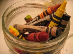 Crayons and colored pencils live in glass jars at our house.