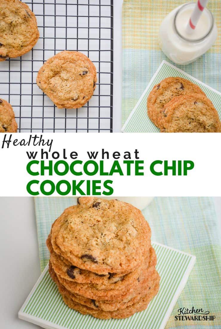 Yes, cookies can be healthy! These 100% whole wheat chocolate chip cookies are loaded with healthy fat and whole grains.