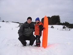 dad and paul sled