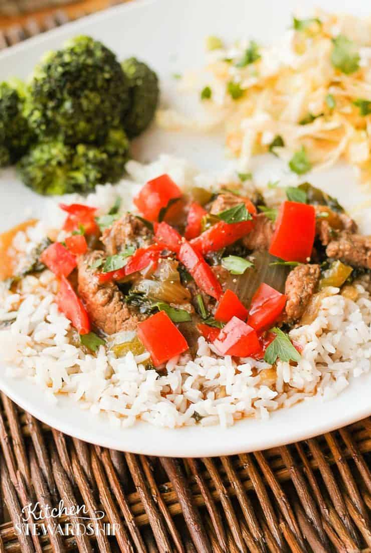 Pepper Steak Recipe - A recipe makeover of a old family favorite - simple gluten-free dinner tonight and husband-approved!