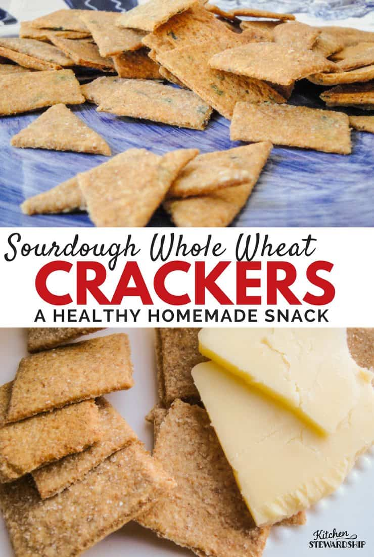 Making your own crackers is much easier than you think! This whole wheat version with healthy sourdough is sure to please everyone.