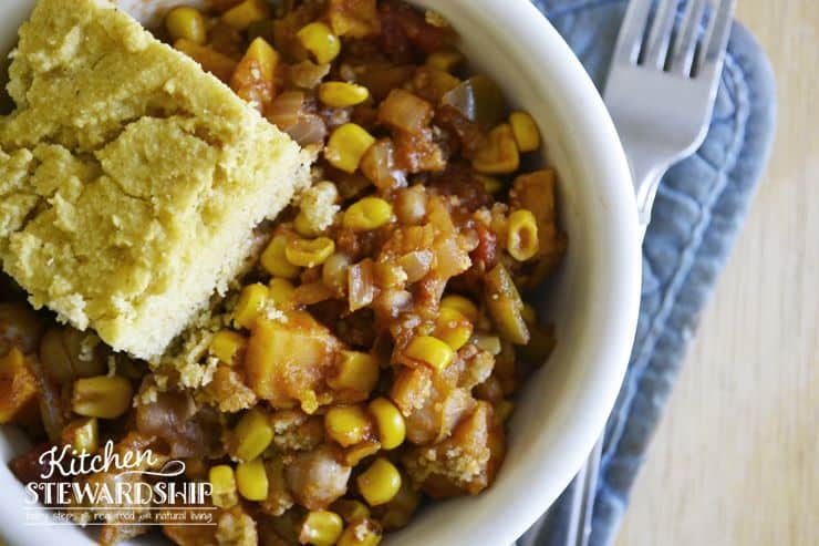 Meatless Southwestern Pot Pie Recipe. Garbanzo beans (chickpeas), sweet potatoes, salsa and cornbread mix to make a unique one-pot meatless main dish. Perfect for an easy dinner.