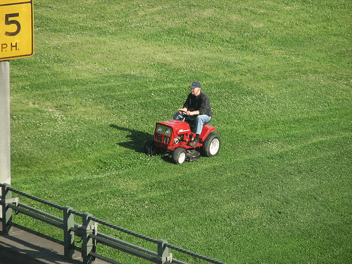 mowing a huge lawn