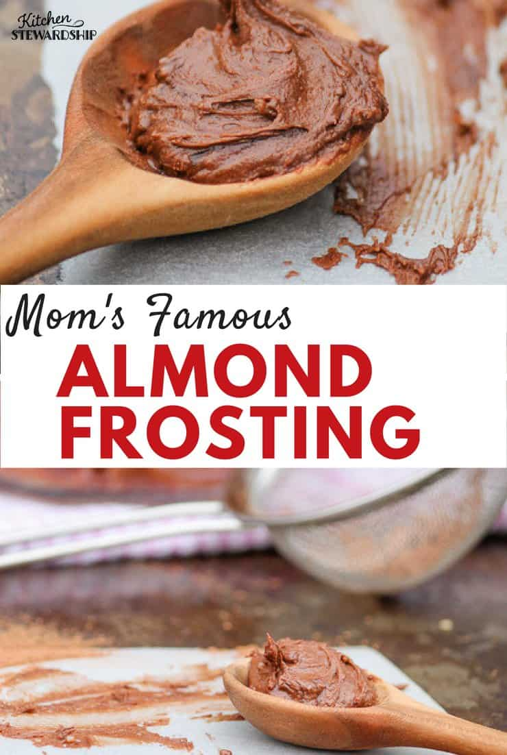 Mom's Heirloom Almond Frosting. An easy, delicious, trans fat free frosting recipe that will quickly become a family favorite!