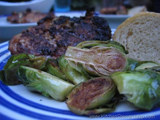 Plate of cooked Brussels sprouts