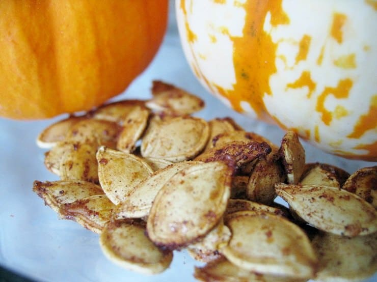 Soaked Crispy Pumpkin Seeds. Super easy instructions for how to make pumpkin seeds for a fall-spiced (or just spicy), healthy Halloween treat. Step-by-step making pumpkin seeds tutorial includes how to soak seeds overnight for best nutrition.