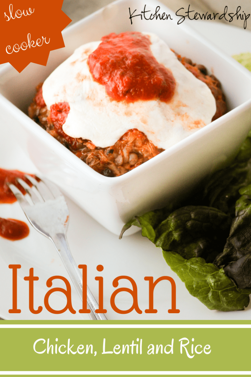Simple crockpot recipe with lentils and brown rice, chicken, and two variations: Italian and Mexican. Fast and frugal - an easy dinner idea!