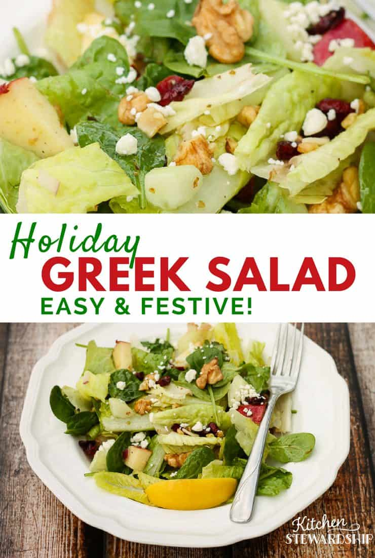 Red, green and oh, so festive, this holiday Greek salad makes the perfect addition to your Christmas menu. It is full of healthy ingredients and topped with homemade dressing.