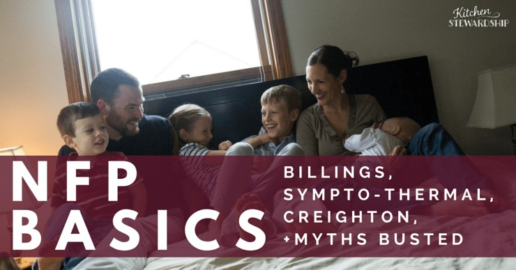 Katie Kimball and family sitting on a bed. NFP Basics - Billings, Sympto-Thermal, Creighton myths busted