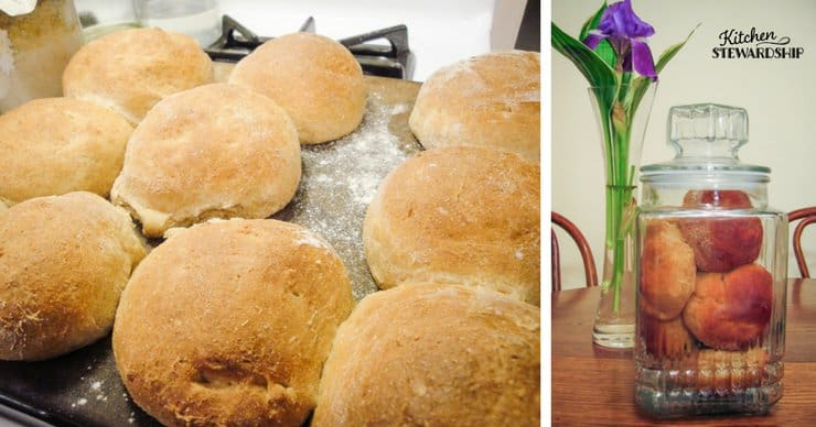 homemade bread rolls on a cast iron pan and in a glass closed container.