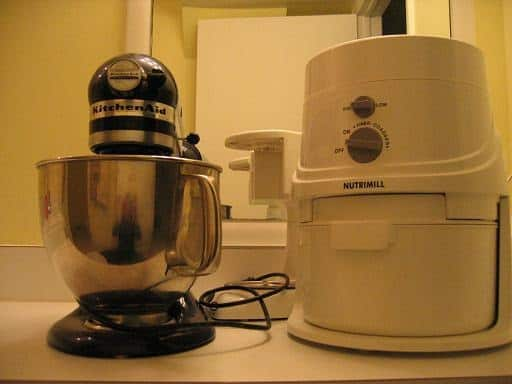 Nutrimill grain mill and Kitchen Aid mixer