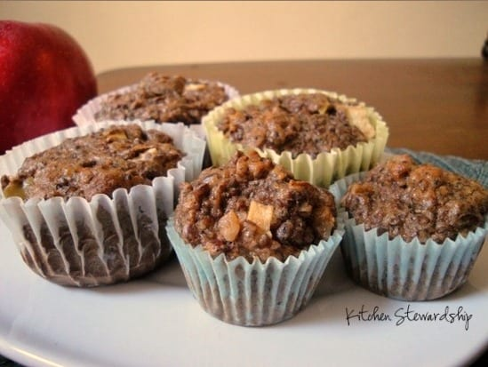 Grain-Free Apple Flax Muffins - Grain free muffin recipe that you won't need any fancy ingredients to make. Flax is the star player, making the muffins gluten free - and delicious - as well. They work great as a breakfast or a healthy snack!