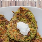 What better way to go green than these Potato Vegetable Pancakes {Latkes}?! They are a great kid-friendly real food breakfast option.