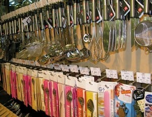 Utensils at a kitchen supply store