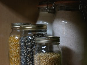 Real food kitchen pantry staples stored in glass jars