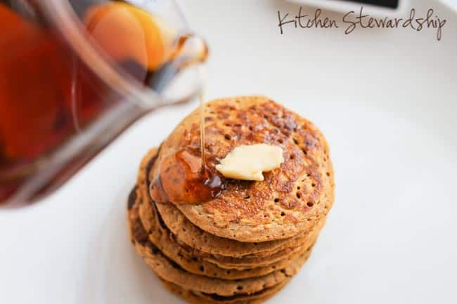 A full cup of vegetables for every 1/4 cup of grains! Now that is one healthy pancake. Use any orange vegetable (pumpkin, buttercup or butternut squash, etc) and any flour, including coconut flour, almond flour, whole wheat flour, brown rice flour, even sourdough. Eat your vegetables for breakfast!