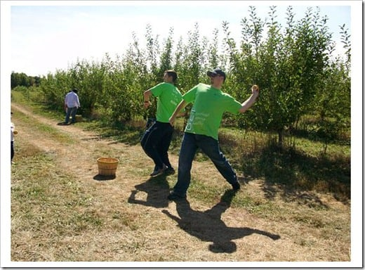 men throw apples