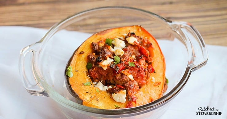 Greek Sausage Stuffed Acorn Squash