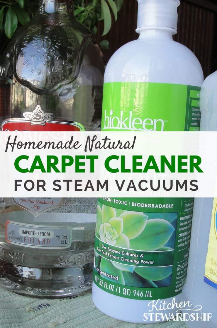 A list of many homemade natural carpet cleaner ideas, using simple items like vinegar for steam vacuum machines and baking soda for odors.