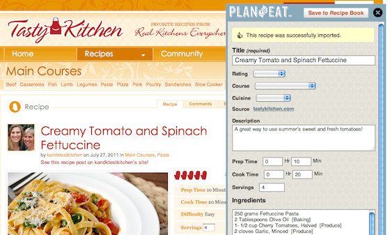 Plan to Eat's bookmarklet to import recipes