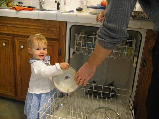 What can kids do in the kitchen at any age? Helping with dishwasher is an early option...find more in this comprehensive post!
