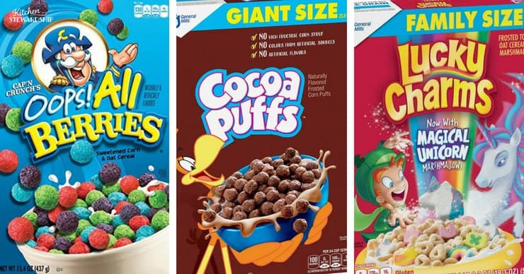 Brightly colored cereal boxes aimed at children and full of sugar.